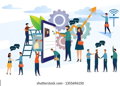 business people with smartphone concept modern business vector illustration. man checking mobile phone and discussion. communication and internet of think.