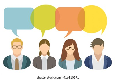 Business people and speech bubbles
