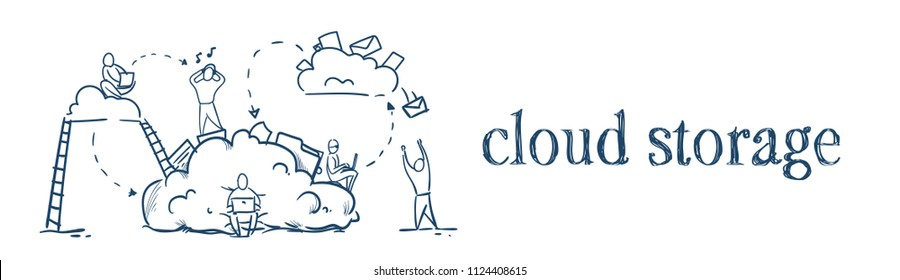 business people stairs on data cloud storage cycles synchronization concept team working on white background sketch doodle banner vector illustration