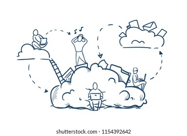 business people stairs on data cloud storage cycles synchronization concept team working on white background sketch doodle vector illustration