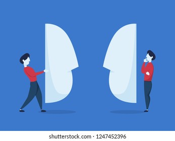 Business people stand behind giant mask. Fake agreement with fraudster. Isolated flat vector illustration