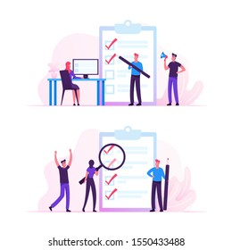 Business People Stand at Huge Clipboard with Check List Filling Marks by Pen Searching Solution and Thinking New Idea. Scheduling, Inspiration Creative Process Concept. Flat Vector Illustration