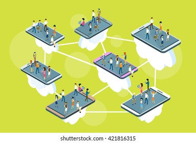 Business People Stand On Big Cell Smart Phone Social Network Communication Man Woman 3d Isometric Vector Illustration