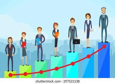 Business People Standing Financial Bar Graph Group Concept Businesspeople Team Vector Growth Chart Illustration
