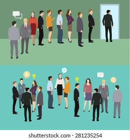 Business people standing in a line. Flat design, vector illustration