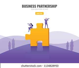 Business people standing on big puzzle and using binocular finding another puzzle piece. Business opportunity and partnership concept. vector illustration