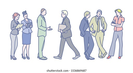 Business People are standing and talking to their colleagues. hand drawn style vector design illustrations.