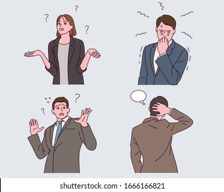 Business people in suits express various emotions. A woman with a curious look with her hands open. Surprised man. Man touching the back hair. hand drawing illustration.