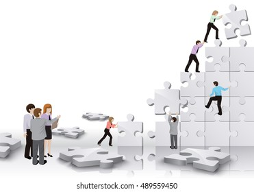 Business People Team Build A Puzzle - Isolated On White Background. Graphic Design Vector Illustration. For Web, Websites, Print Material, Business Concept