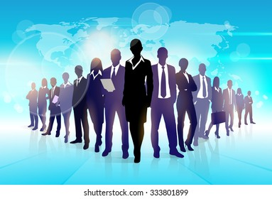 Business People Team Crowd Walk Black Silhouette Concept Businesspeople Group Human Resources over World Map Background Vector Illustration