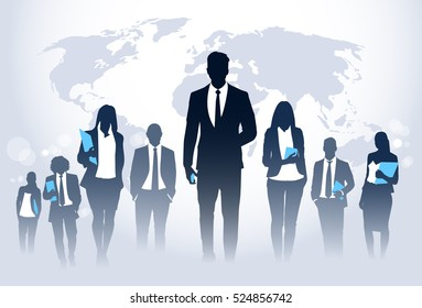Business People Team Crowd Walk Silhouette Concept Businesspeople Group Human Resources over World Map Background Vector Illustration