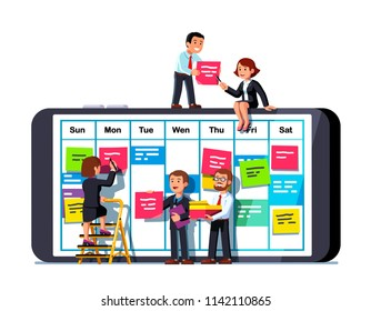 Business people team discussing tasks placing sticky notes on mobile phone screen calendar app week plan schedule table. Business team scheduling plan together. Flat vector teamwork illustration