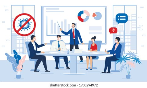 Business People Team in Face Mask Meeting Contemporary Management. Solving Problem, Analyzing Financial Statistics Data Presentation Report after Coronavirus Pandemic on Corporate Briefing, Conference