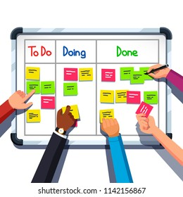 Business people team hands placing sticky notes on planning board. Sticking note on srum task board. Team planner meeting. Scrum task board and teamwork concept. Flat vector isolated illustration