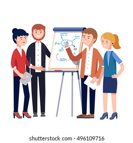 Business people team project strategy planning meeting. Businessman showing and explaining to his colleagues plan diagram sketch drawn by a marker on a white board. Flat style vector illustration.