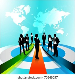 business people team standing on a 3d arrows-vector