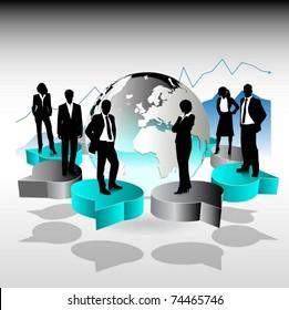 business people team standing on 3d speech bubbles-vector design
