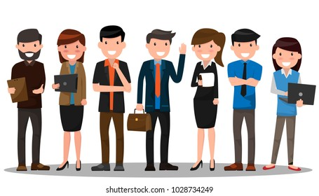 business people teamwork. Businessman and businesswoman in flat design people characters. People working in various pose vector illustration. Boss, Manager, Employee.