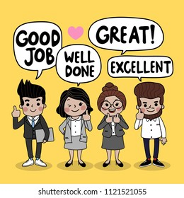 Business people teamwork cartoon character said great job, great, excellent and well done . Bubble speech with man and woman in office costume vector.