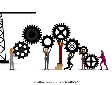 Business People Teamwork - Isolated On White Background. Graphic Design Vector Illustration. For Web, Websites, Print Material, Business Concept