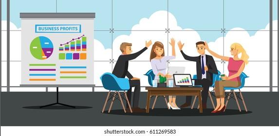 Business People teamwork in meeting room ,Vector illustration cartoon character.