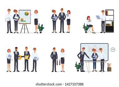 Business people teamwork office character. Colleague seminar meeting.