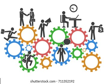 business people teamwork on mechanism gears background
