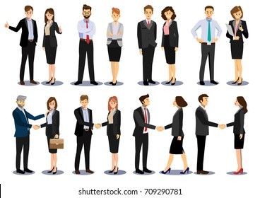 Business people teamwork, set of Business people in different poses, standing, arms crossed, handshaking, cartoon flat-style vector illustration.