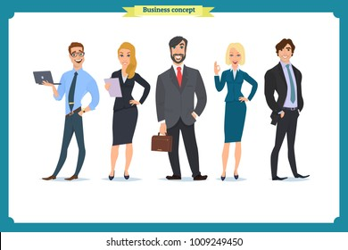 Business People teamwork, Vector illustration in a flat style cartoon character. Business team. A group of people dressed in strict suit. Businesswoman character, people consulting