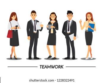 Business People-Teamwork, Vektorgrafik-Cartoon-Charakter.