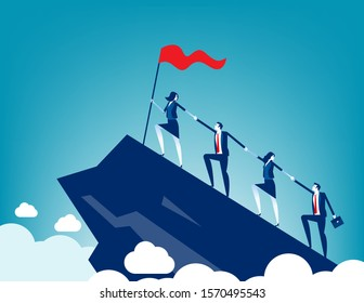 Business people together to success holding each team hands. Concept business teamwork vector illustration Support