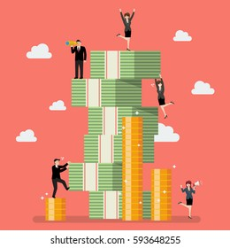 Business people try to climbing money mountain. Business concept