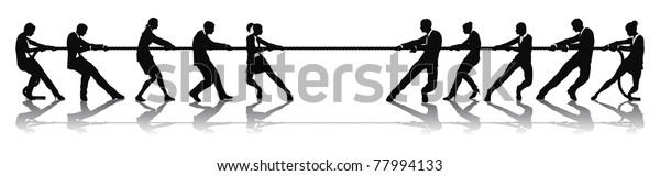 Business people tug of war competition concept. Business teams engaged in a rope pulling test contest.