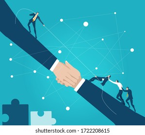 Business people tug of war, pulling the rope in order to prove who s the stronger. Business concept illustration