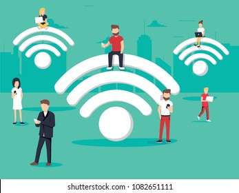 Business people using laptop and phones with internet support business and lifestyle. Concept business vector illustration. Wi fi connection and speed internet 4g or 5g concept. Work communication