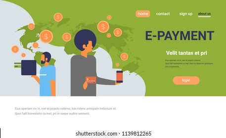 business people using mobile e-payment application dollar coin global online pay concept flat horizontal copy space vector illustration