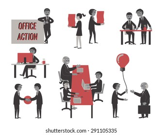 business people , various characters, actions and activities.