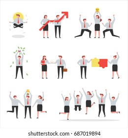 business people various situation vector illustration flat design