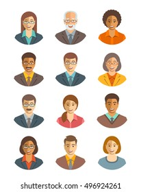 Business people vector avatars set. Business team icons. Men and women in suits, young and senior, caucasian and african american characters. Company staff profile pictures. Simple flat happy faces