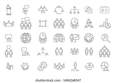 Business people, vector icons. Contains such Icons as One-on-One Meeting, Workplace, Business Communication, Team Structure and more. - Shutterstock ID 1404268547