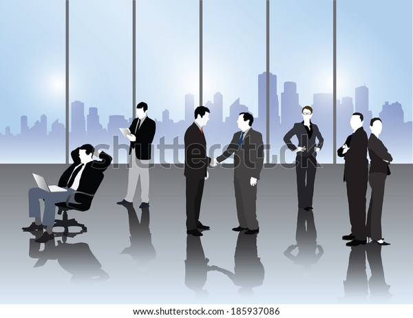 Business people vector in office with cityscape