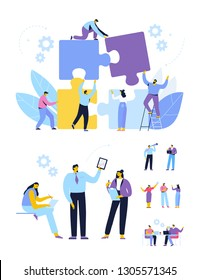 Business people vector set. Cooperation. People connecting puzzle elements.  Business meeting. Teamwork. Business people working together. Cartoon Flat style characters isolated on white background.