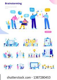 Geschäftsleute, Vektorset. Kreative Teamcharaktere. Diskussionsteilnehmer. Büroangestellte leben. Teamdenken und Brainstorming. Flache Vektorzeichen