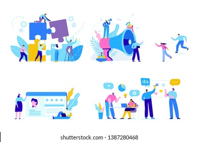 Business people vector set. Creative team characters. Discussion people. Office workers life. Team thinking and brainstorming. Flat vector characters