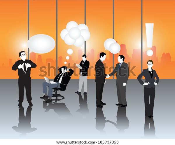 Business people vector with speech bubbles and punctuation