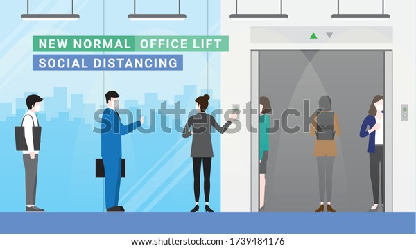 Business people waiting for elevator going up office building. Lifestyle after pandemic covid-19 corona virus. New normal is social distancing queue and wearing mask. Flat design style vector concept.