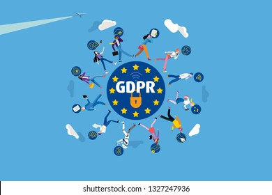 Business people walking around the European Union flag stars and GDPR acronym. They work safely using their mobile devices. Vector illustration.