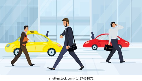 Business People Walking on City Street. Men and Women Characters Wearing Formal Clothing Hurry at Work on Urban Background with Taxi and Car Moving by Road, Lifestyle, Cartoon Flat Vector Illustration
