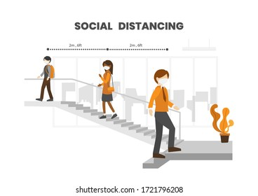 Business people wear protective face masks, practice social (Physical) distancing by taking stairs in office building and keep stay 6 feet from other, COVID-19 outbreak prevention