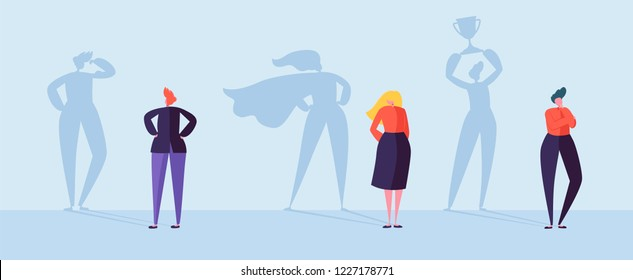 Business People with Winner Shadow. Male and Female Characters with Silhouettes of Leadership, Achievement and Motivation. Vector illustration